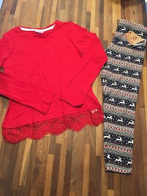 F&F And MATALAN Girls Christmas Outfit Reindeer Print Leggings And Top 6-7 BNWT