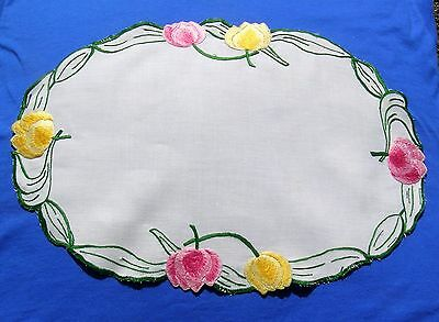 Vintage Hand Embroidered Doily Runner Tulips Oval