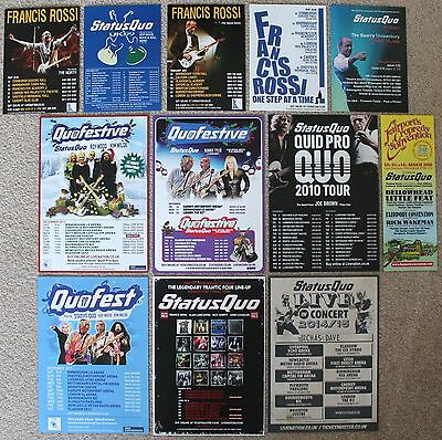 Status Quo  Francis Rossi  (Roy Wood  Kim Wilde  Bonnie Tyler)  Promo Flyer x 12