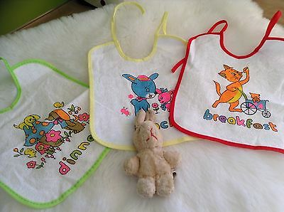 Vintage Authentic Baby boy girls infants childrens bibs unused Pack of 3  1970s