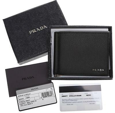 New Prada Black Grain Leather Logo Credit Card Case Money Clip Bi-Fold Wallet