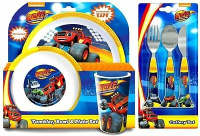 Spearmark Childrens Dinner & Cutlery Set Blaze & The Monster Machine -  6 Piece