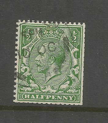 KING GEORGE V 1913 ½d BRIGHT GREEN USED SG 397   REF 109