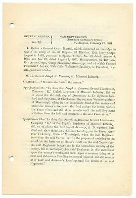 1864 Civil War General Orders 72 Negro Sentences Approved by Abraham Lincoln