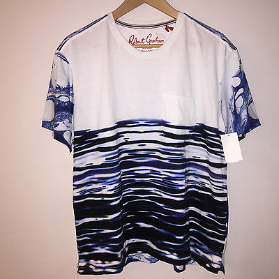 Nwt Mens Robert Graham Tailored Fit Short Sleeve Cotton T Shirt Large