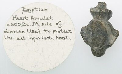 Egyptian Heart Amulet, circa 600 BC, 17 x 26 mm, Made of Diorite, Intact