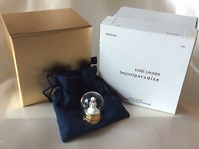 Figural Estee Lauder BEYOND PARADISE Solid Perfume Compact SNOW GLOBE in Dbl Box