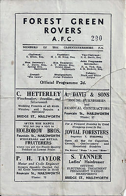 Forest Green Rovers 1950's programme North Senior v North Gloucestershire League