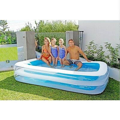 Airtime Inflatable Rectangular Family Kids Pool Blue 262x175x51cm New Perth SOR