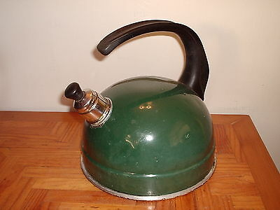 Old Green Whistling Camping Kettle Caravan Beach Hut Use