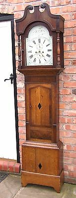 Antique Inlaid Oak & Mahogany 8 DAY Longcase Grandfather Clock