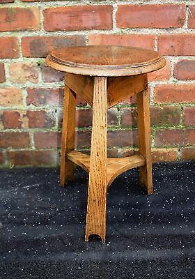 Good late Victorian Arts and Crafts solid oak stool 1900