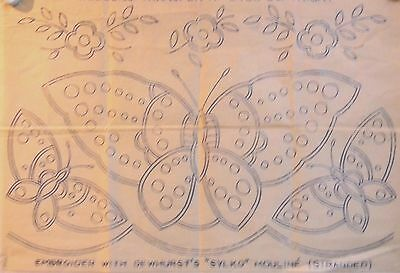 Vintage  Embroidery Transfer  - Butterflies - 1 Large 2 Small