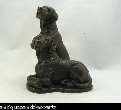 Figure with 2 Bronzed Dogs
