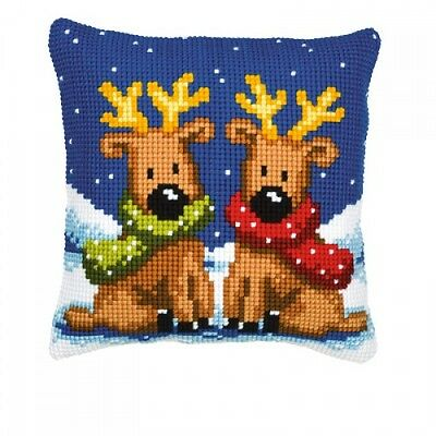 "Vervaco REINDEER TWINS Cushion Front Chunky Cross Stitch Kit 16"" x 16"""