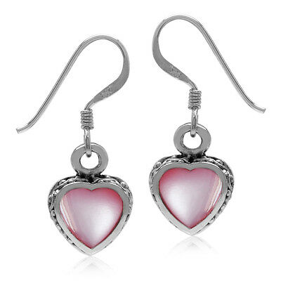 Heart Shape Pink Mother Of Pearl 925 Sterling Silver Dangle Hook Earrings