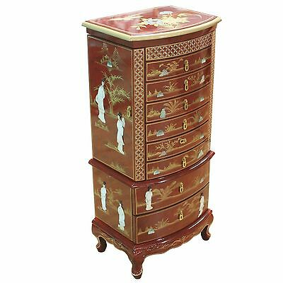 Mottled Red With Mother Of Pearl Jewellery Armoire Oriental Chinese Furniture