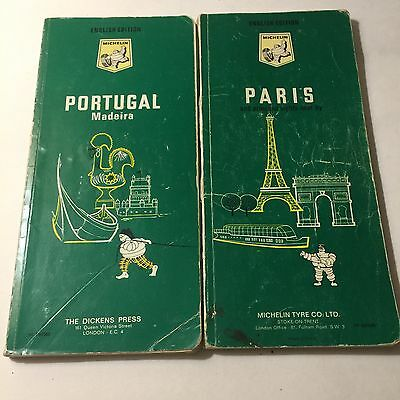 Michelin Green Guides Portugal And Paris 1970 1968 English Vintage