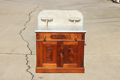 Burl Walnut Victorian Marble Top Washstand w Candle Holders BackSplash Ca.1870