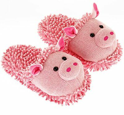 Aroma Home FUZZY FRIENDS SLIPPERS UK Size 4 to 7 - PIG Pink