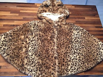 NEXT Leopard Animal Print Poncho Coat With Ears Age 3-4 EXCELLENT CONDITION