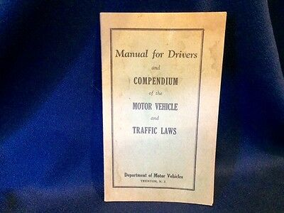 1939 New Jersey Manual For Drivers & Compendium For Motor Vehicles Traffic Laws