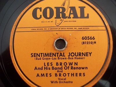 """LES BROWN & AMES BROTHERS BAND """"Sentimental Jouney / Undecided"""" Coral 78rpm"""