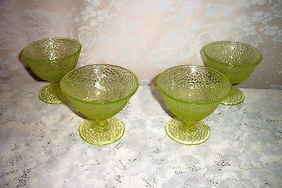 FOUR L.E. Smith Vaseline Glass BY CRACKY / Crackle Footed Sherbets