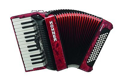 Hohner Bravo II 60 Bass RED Piano Accordion Acordeon +Bag,Straps,Instruction DVD