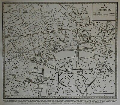 Vintage 1945 World Atlas City Map of Central London, England World War WWII OLD