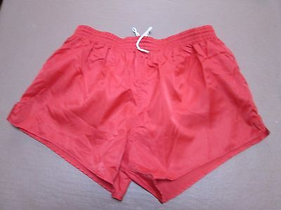 "Fine Erima true vintage red ""glanz""  nylon short shorts D7, 36""."