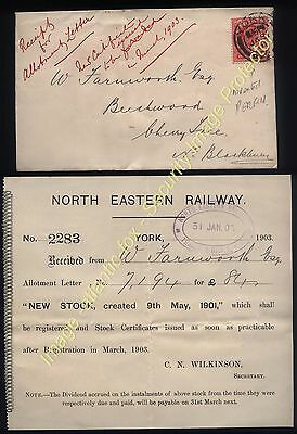 1903 NORTH EASTER RAILWAY York 1d EDVII with SECURITY PERFIN + NEW STOCK notice