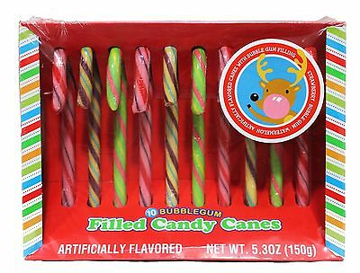 HOLIDAY 10pc Candy Canes BUBBLEGUM FILLED 5.30 oz Box HARD CANDIES Exp. 12/17