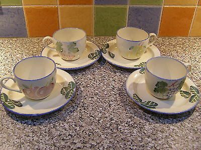 Poole Dorset Fruits Cups And Saucers X 4
