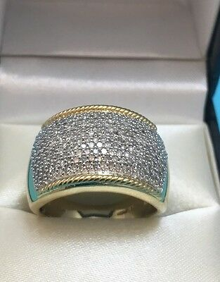 Vermeil Gold on Sterling Silver Diamond Accent Ring QVC Sz 8 JWER - STUNNING!
