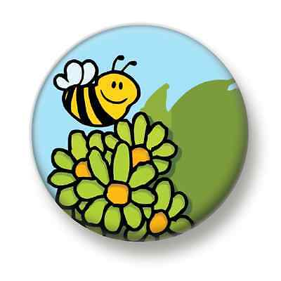 Bee In The Garden 1 Inch / 25mm Pin Button Badge Eco Save The Bees Nature Green