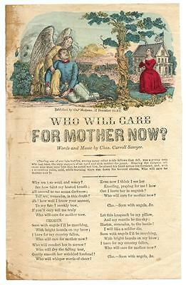 1860s Civil War Era Color Print Poem Who Will Care For Mother Now Dead Soldier