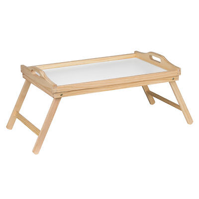 Folding Bed Wood Tray White Top Breakfast Dinner In Bed Serving Lap 50 x 30cm