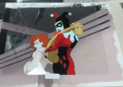 Batman Animated Series Poison Ivy Harley Quinn Production Cel with OBG!