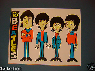 The Beatles Cartoon Mccartney Lennon Ringo George Matted  Cel Cell Animation Art