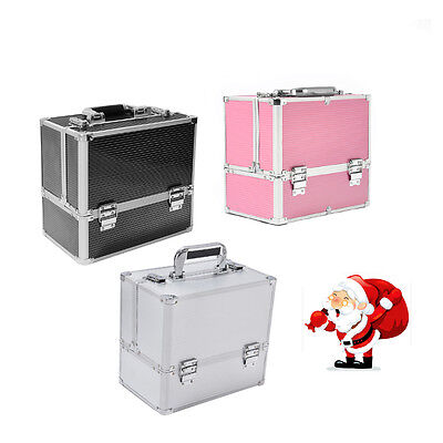 Aluminum Make Up Box Vanity Case Large Storage Space Jewelry Cosmetic Bag Beauty