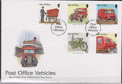 GB - Isle of Man 2003 Royal Mail Post Office Vehicles SG 1056/60 FDC BIKES VANS