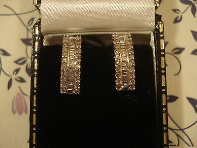 Beautiful 14CT Gold .75CT Sparkling Diamonds: 32 Baguette & 44 Round: Earrings