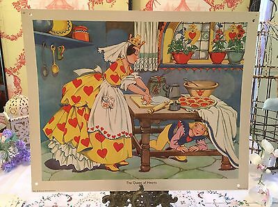 MacMillans Vintage School Poster 1950s Nursery Rhyme The Queen Of Hearts Print