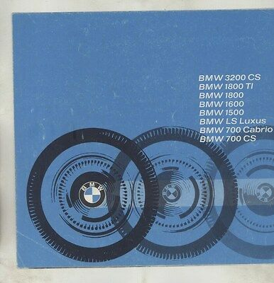 1964 BMW 3200CS 1800TI 1800 1600 1500 LS Luxus 700 Cabrio Brochure German ww4030