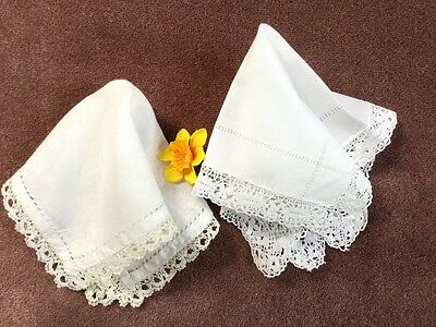 2x VINTAGE CHABBY CHIC LACE EDGED HANKIES