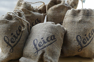 Five - Leica M Burlap Sack with Leather Lens Pouch and Mink Oil