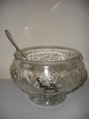 Glass Punchbowl/mulled Wine With Silver Plated Ladle - Stunning Table Centre