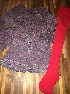 NEXT Girls Long Sleeve Playsuit And Matching Tights Age 6 IMMACULATE