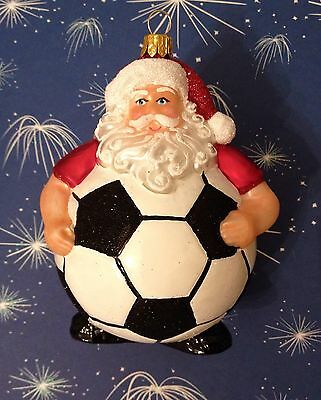 Santa Football Glass Christmas Tree Decoration Bauble Ornament, Arsenal